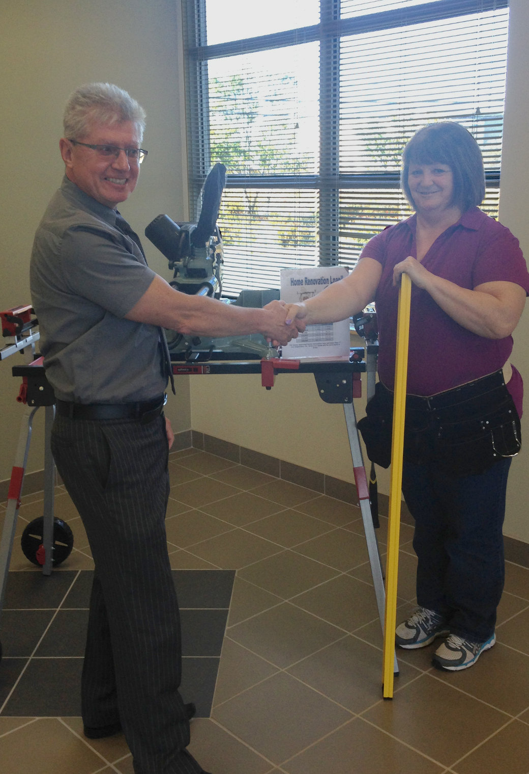 Miss Barbara Carew is the winner of our Home Renovation Campaign that ran from May to September 2016. Brian Quilty, CEO congratulated Barbara on winning the miter saw, table stand and accessories. Congratulations Barbara!