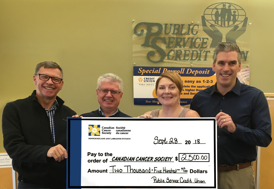PSCU is proud to sponsor the Canadian Cancer Society & Daffodil Place-NL for $2,500.