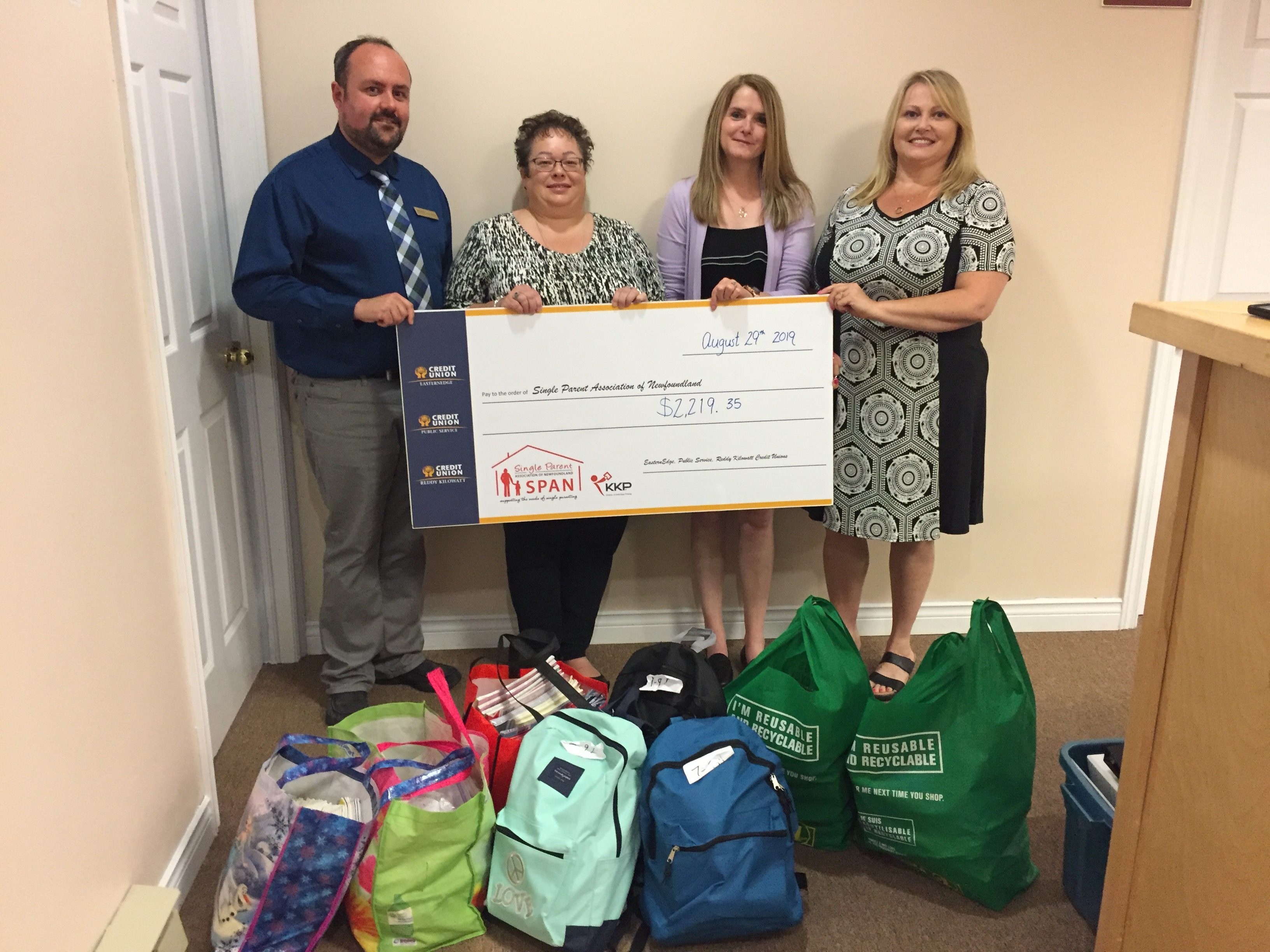 Public Service Credit Union along with Eastern Edge Credit Union and Reddy Kilowatt Credit Union help support Kids Back to School by raising $2,219 as well as school supplies. Many thanks to all three CUs and its members for their support.