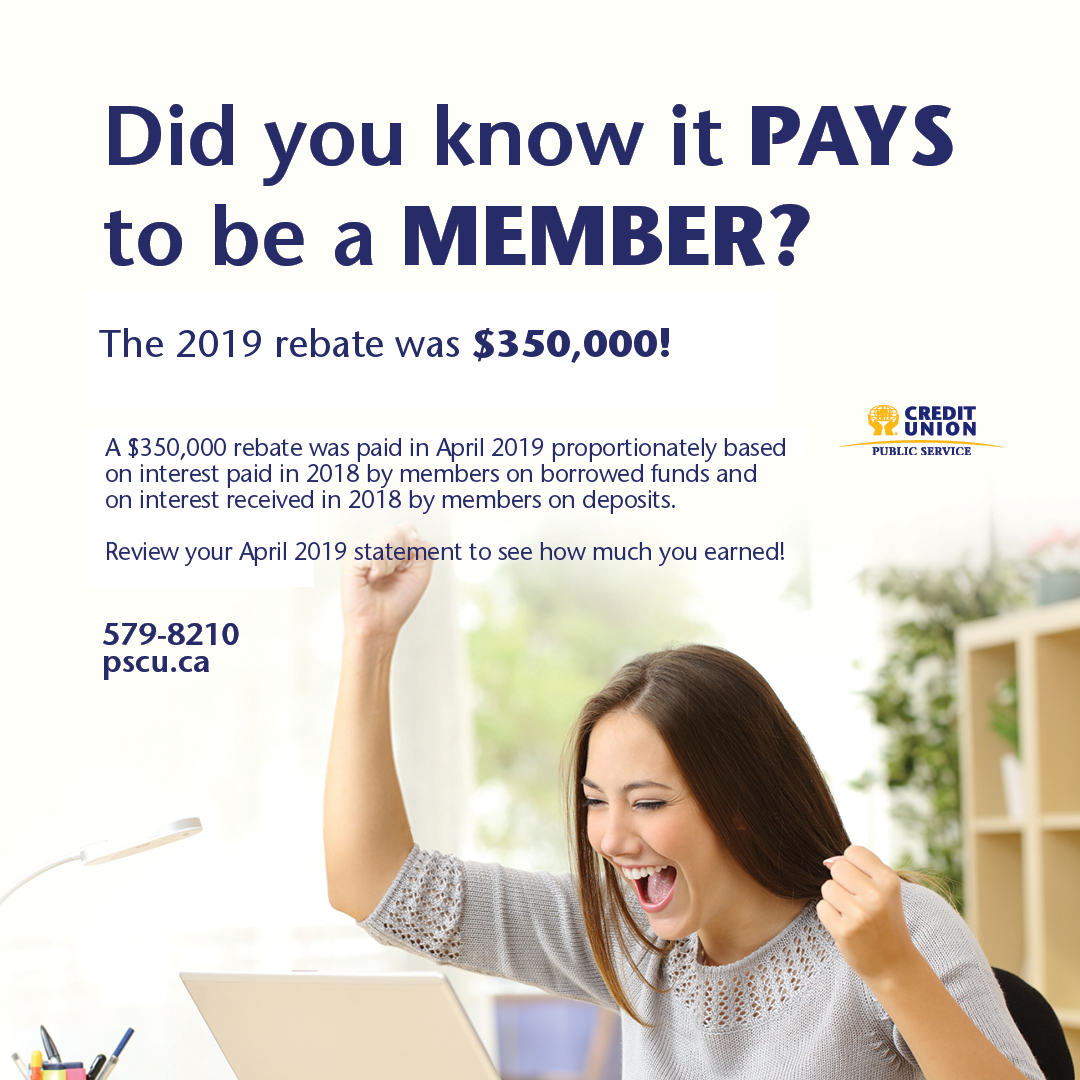 A $350,000 rebate was paid April 22, 2019 proportionately based on interest paid in 2018 by members on borrowed funds and on interest received in 2018 by members on deposits. Review your April 2019 statement to see how much you earned!
